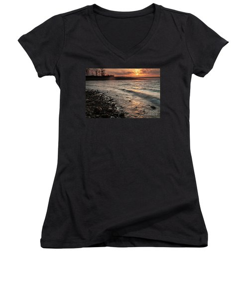 Winter Morning At The Vetran's Lake Women's V-Neck T-Shirt (Junior Cut) by Iris Greenwell