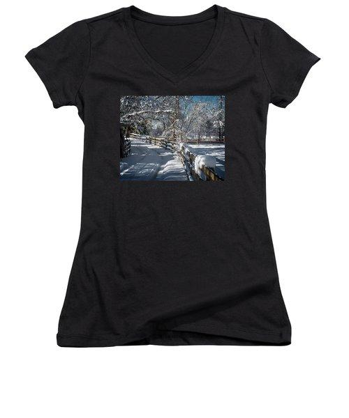 Winter On Ruskin Farm Women's V-Neck T-Shirt