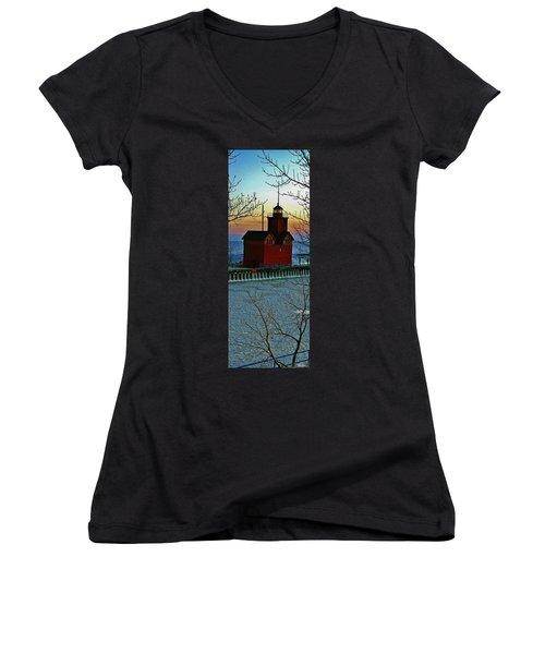 Winter Red Women's V-Neck (Athletic Fit)