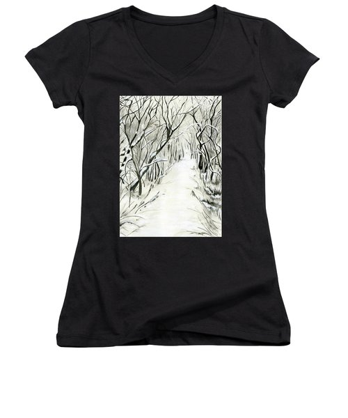 Women's V-Neck T-Shirt (Junior Cut) featuring the painting Winter Scene by Nadine Dennis