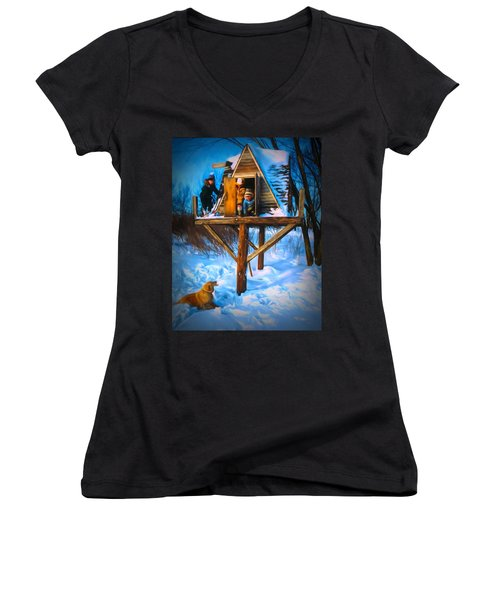 Winter Scene Three Kids And Dog Playing In A Treehouse Women's V-Neck
