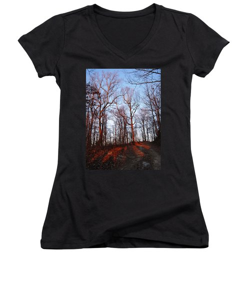 Winter Sunset In Georgia Mountains Women's V-Neck T-Shirt