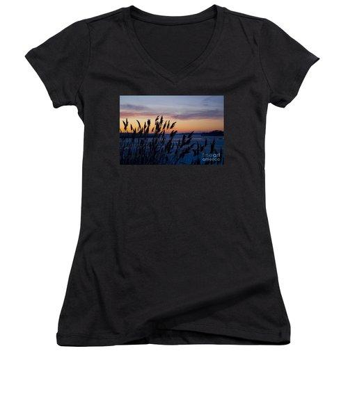 Women's V-Neck T-Shirt (Junior Cut) featuring the photograph Winter Sunset  by Paula Guttilla