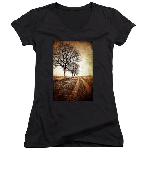 Winter Track With Trees Women's V-Neck T-Shirt