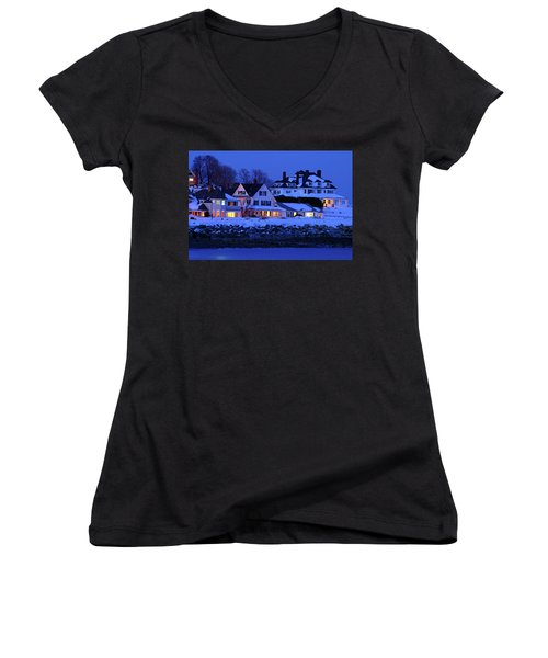 Winter Waterfront Women's V-Neck T-Shirt (Junior Cut) by James Kirkikis