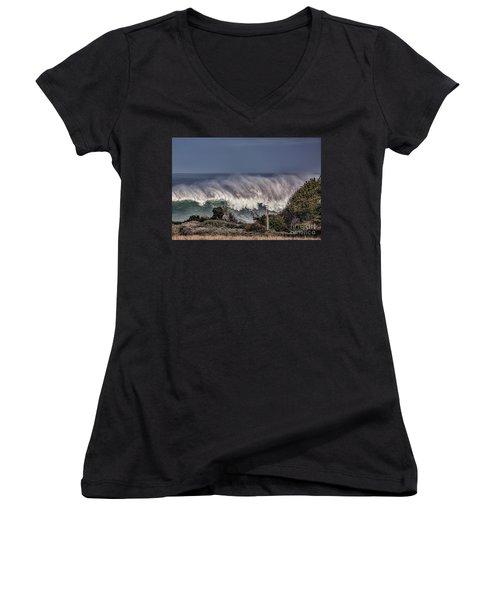 Winter Waves Women's V-Neck T-Shirt (Junior Cut) by Shirley Mangini