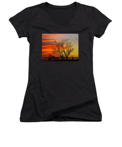 Women's V-Neck T-Shirt (Junior Cut) featuring the photograph Winter's Scene by Donald C Morgan