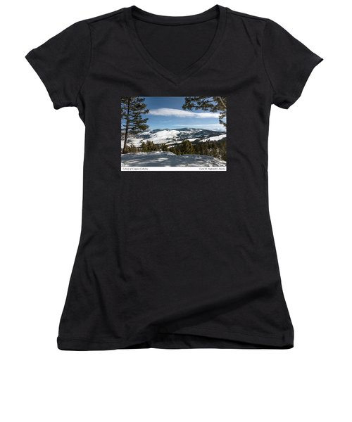 Wintertime View From Hellroaring Overlook In Yellowstone National Park Women's V-Neck T-Shirt (Junior Cut) by Carol M Highsmith