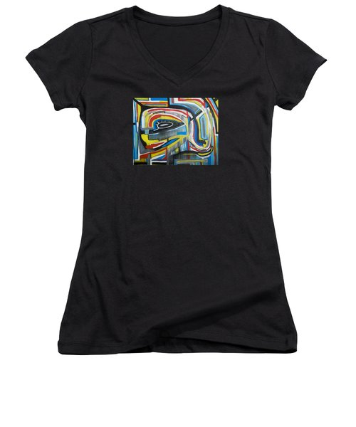 Wired Dreams  Women's V-Neck T-Shirt (Junior Cut) by Jose Rojas