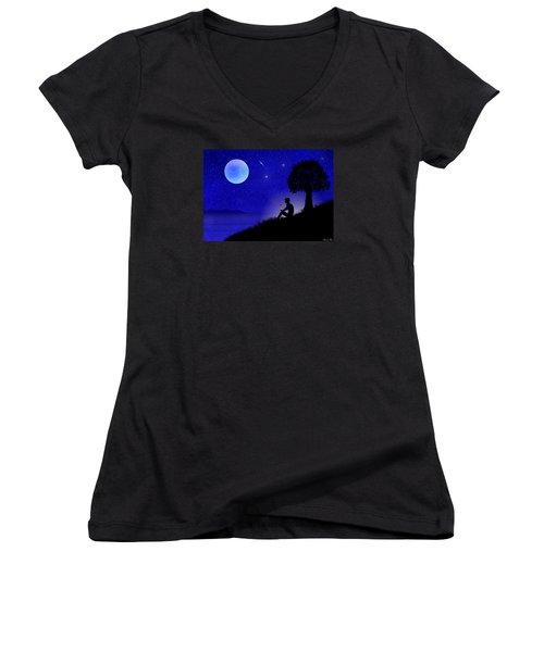 Women's V-Neck T-Shirt (Junior Cut) featuring the digital art Wish You Were Here by Bernd Hau