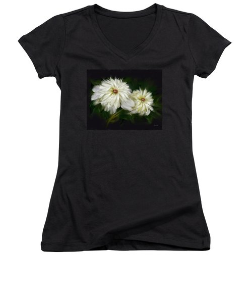 Withering Peony Women's V-Neck T-Shirt (Junior Cut) by Bonnie Willis