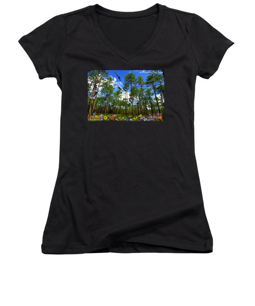 Withlacoochee State Forest Nature Collage Women's V-Neck (Athletic Fit)