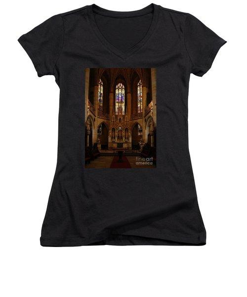 Wittenberg Castle Church 5 Women's V-Neck T-Shirt