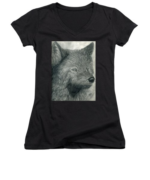 Wolf Women's V-Neck T-Shirt (Junior Cut)