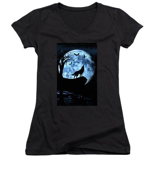 Wolf Howling At Full Moon With Bats Women's V-Neck