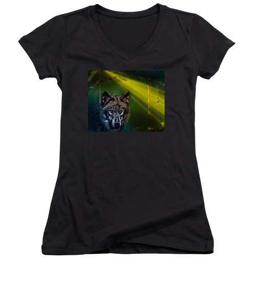 Wolf Of The Dark Wood Women's V-Neck (Athletic Fit)