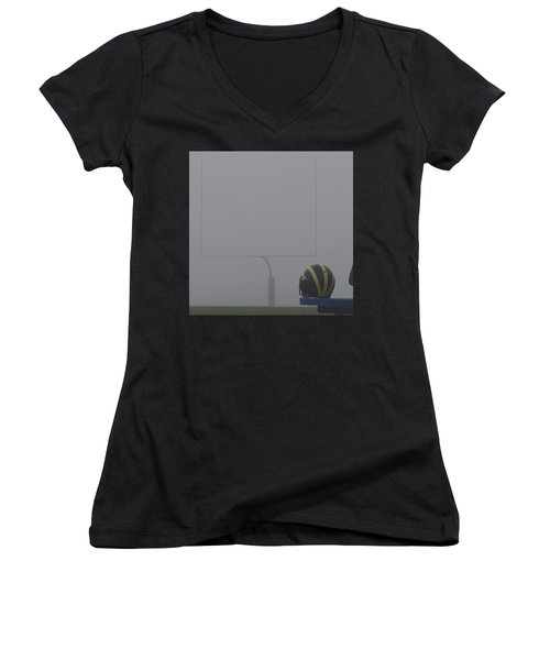 Women's V-Neck (Athletic Fit) featuring the photograph Wolverine Helmet In Heavy Morning Fog by Michigan Helmet