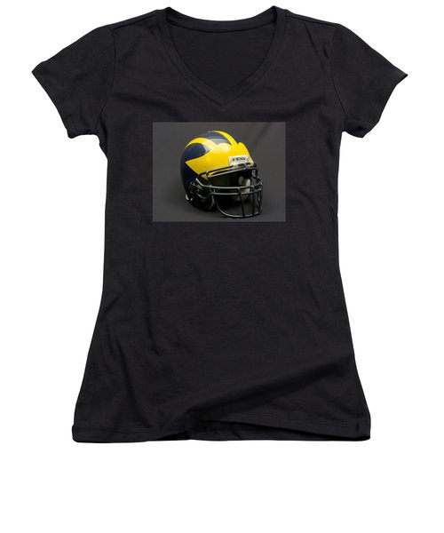 Women's V-Neck (Athletic Fit) featuring the photograph Wolverine Helmet Of The 2000s Era by Michigan Helmet