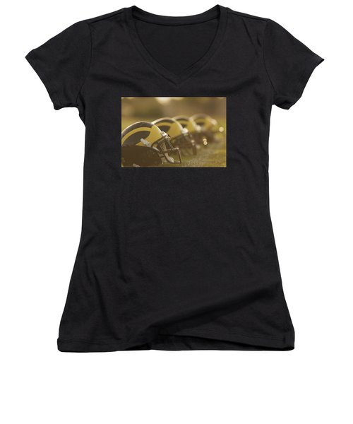 Wolverine Helmets Sparkling In Dawn Sunlight Women's V-Neck (Athletic Fit)