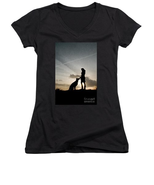 Woman And Dog  Women's V-Neck