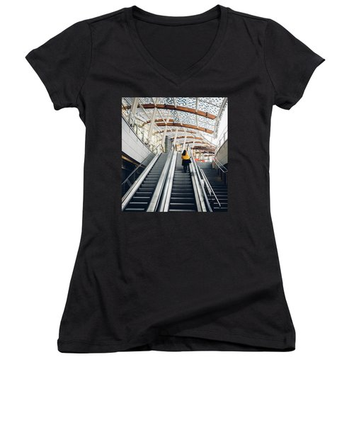 Woman Going Up Escalator In Milan, Italy Women's V-Neck