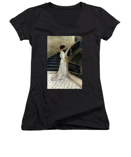 Woman In Lace Gown On Staircase Women's V-Neck T-Shirt (Junior Cut) by Jill Battaglia
