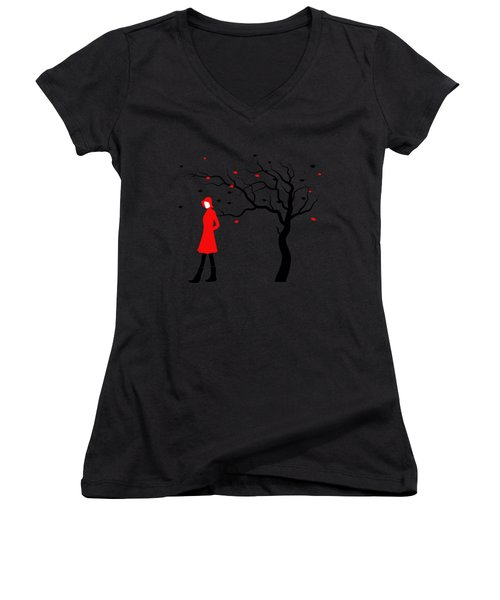 Woman In Red Hat And Trench Coat Walking In Blustery Autumn Rain Women's V-Neck T-Shirt