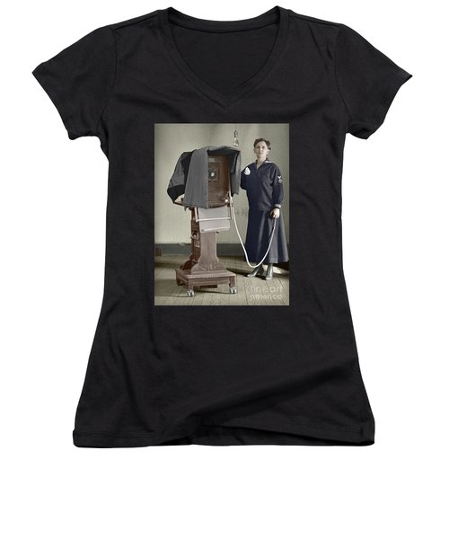 Women's V-Neck T-Shirt (Junior Cut) featuring the photograph Woman Photographer With Large Camera 1900 by Martin Konopacki Restoration