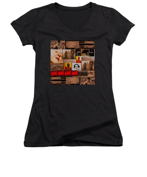 Women's V-Neck T-Shirt (Junior Cut) featuring the photograph Woman Power Story by Danica Radman