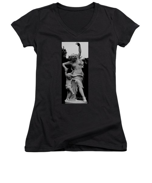 Women's V-Neck T-Shirt (Junior Cut) featuring the painting Woman Statue by Eric  Schiabor