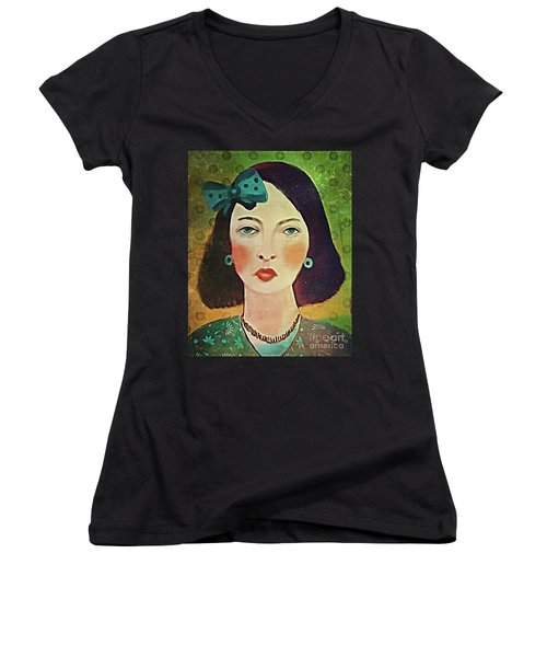Woman With Blue Hair Bow Women's V-Neck T-Shirt (Junior Cut) by Alexis Rotella
