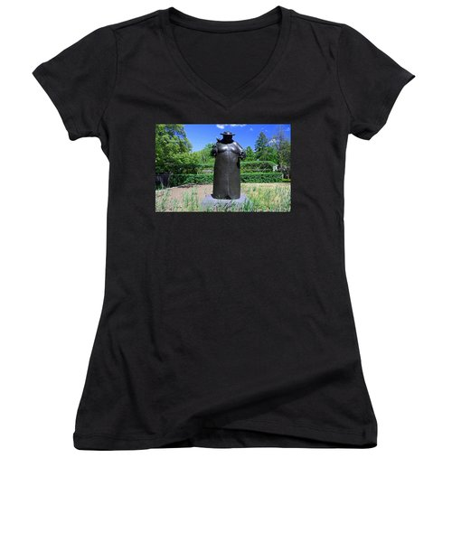 Woman With The Birds Women's V-Neck