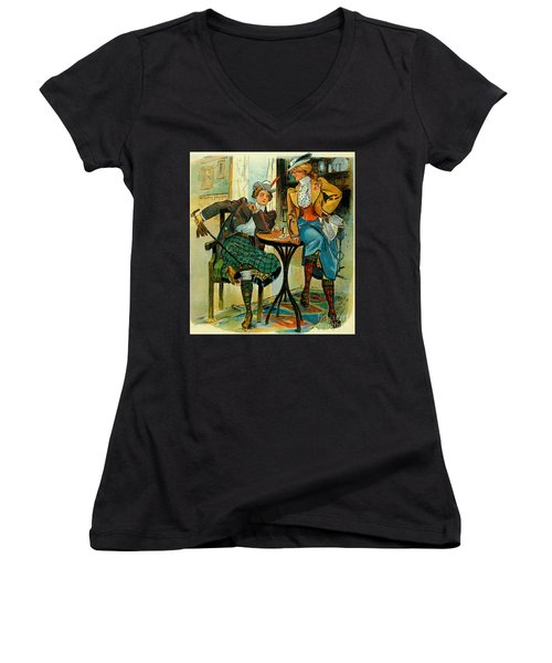 Woman's Club 1899 Women's V-Neck T-Shirt (Junior Cut) by Padre Art