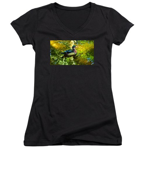 Wood Duck In Lights Women's V-Neck (Athletic Fit)