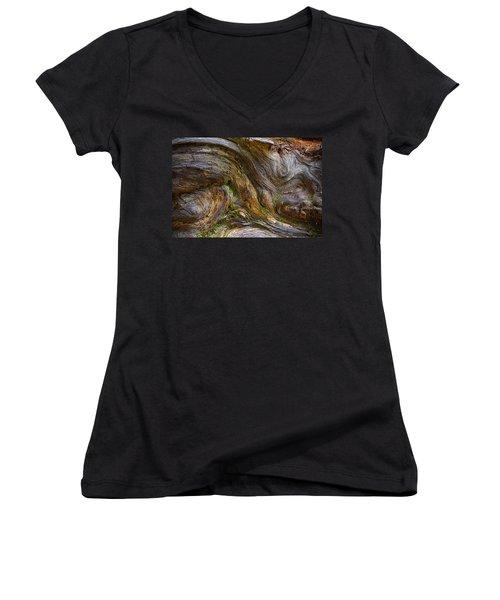 Wood Grain Women's V-Neck T-Shirt