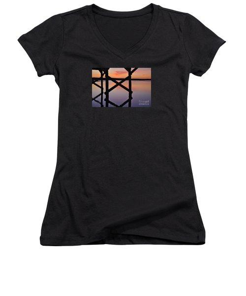 Wooden Bridge Silhouette At Dusk Women's V-Neck T-Shirt (Junior Cut) by Angelo DeVal