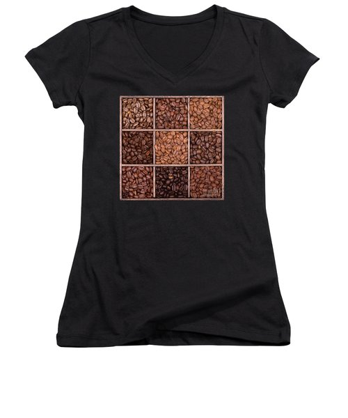 Wooden Storage Box Filled With Coffee Beans Women's V-Neck