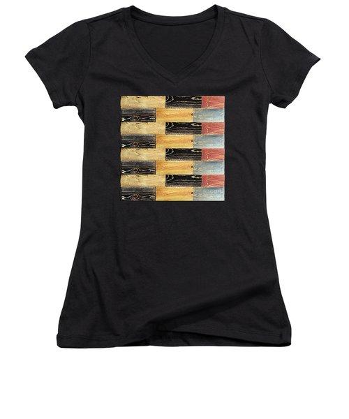Woodgrain Art Abstract Golds Black Blues Women's V-Neck T-Shirt (Junior Cut) by Scott D Van Osdol