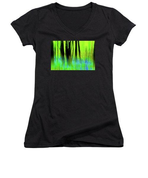 Woodland Abstract Vi Women's V-Neck T-Shirt