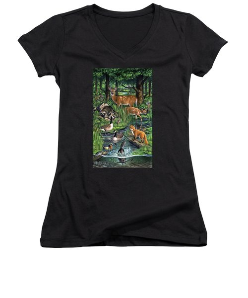 Woodland Women's V-Neck (Athletic Fit)