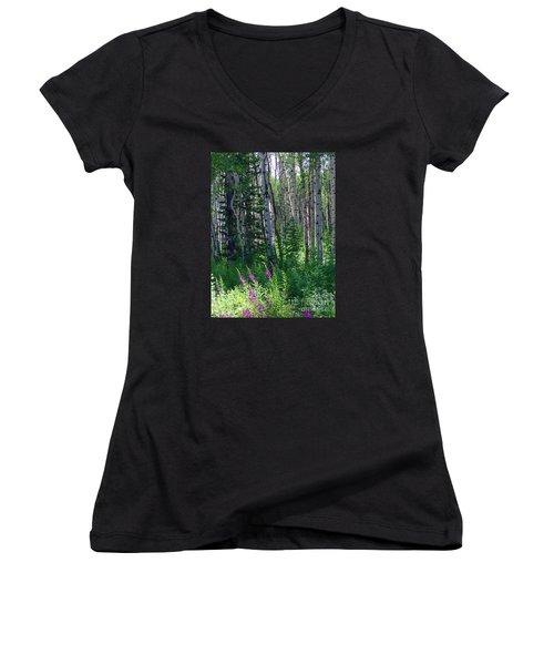 Woods Women's V-Neck T-Shirt (Junior Cut) by Beth Saffer