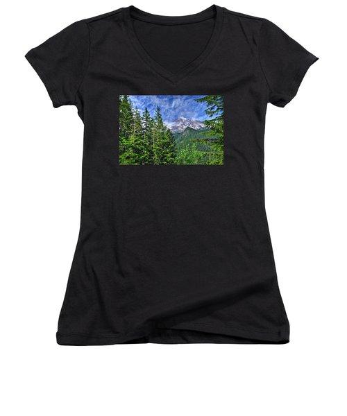 Woods Surrounding Mt. Rainier Women's V-Neck