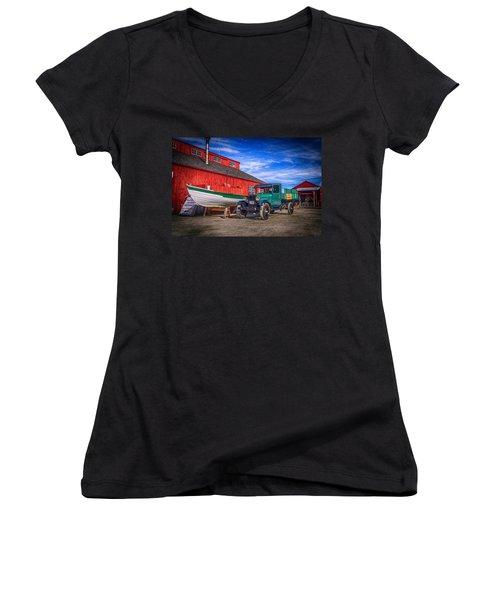 Work Truck, Mystic Seaport Museum Women's V-Neck T-Shirt (Junior Cut)