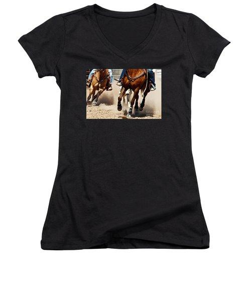 Working Women's V-Neck T-Shirt (Junior Cut) by Kathy McClure