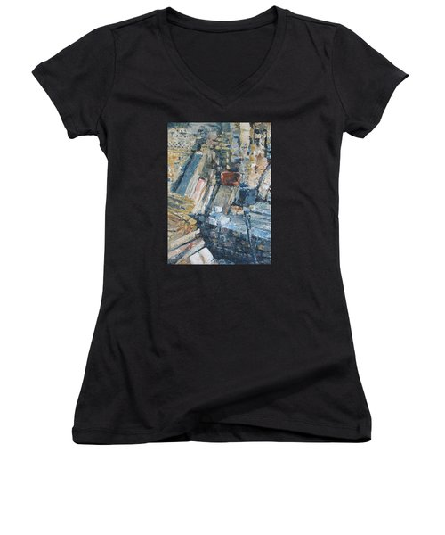 Working To Abstraction Women's V-Neck T-Shirt (Junior Cut) by Connie Schaertl