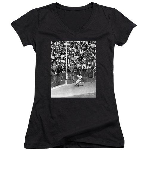 World Series, 1955 Women's V-Neck T-Shirt (Junior Cut) by Granger