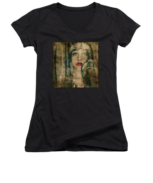 Women's V-Neck T-Shirt (Junior Cut) featuring the photograph World Without Love  by Paul Lovering