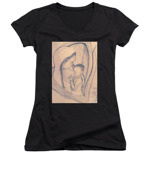 Wrapped Within The Angel Wings Of Momma Women's V-Neck T-Shirt (Junior Cut) by Talisa Hartley