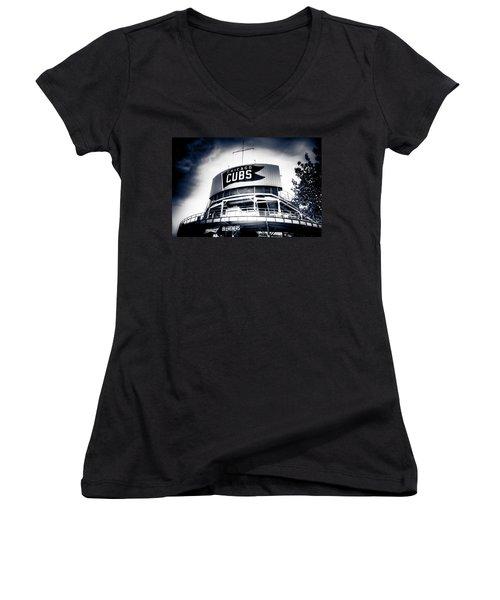 Wrigley Field Bleachers In Black And White Women's V-Neck T-Shirt