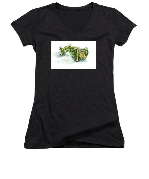 Wrinkled Dollar Women's V-Neck